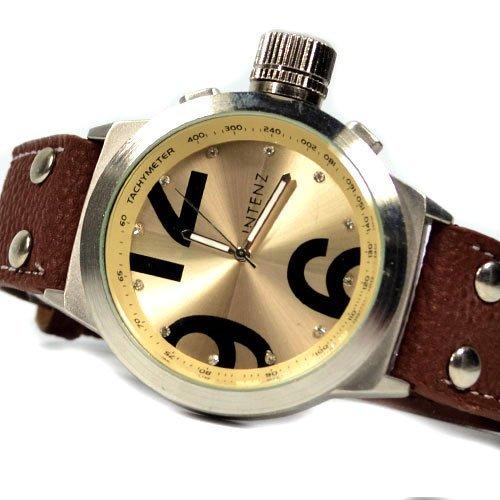 Unisex Armbanduhr n Braun Gold mit Strass Buegel mit Verschluss