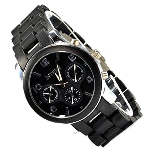 Unisex Armbanduhr Silber Schwarz mit Faltschliesse