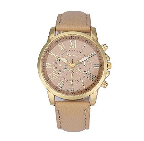 Covermason Damen Quarz Armbanduhr Uhr Faux Leder Analog Roemische Zahlen