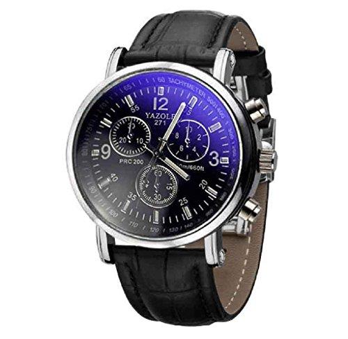 Covermason Herren Quarz Armbanduhr Uhren Crocodile Krokodil Faux Leder Strahl Glas Analog Uhr Schwarz