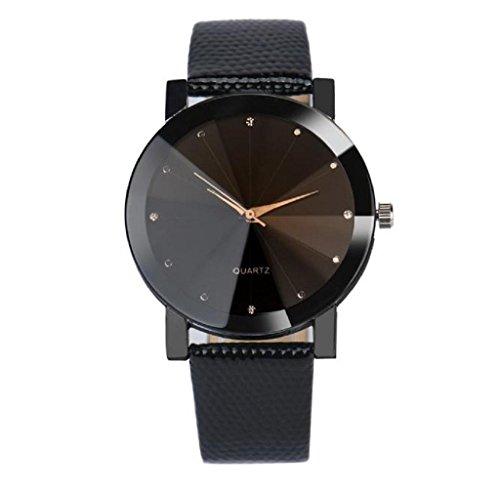 Covermason Damen Maedchen Quarz Armbanduhr Uhr Edelstahl Waehlscheibe Leder Band Armbanduhr