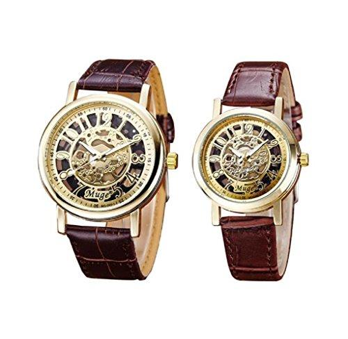 Covermason 2PCS Set Paare Armbanduhr Herren Damen Armbanduhr Uhr Leder Band Hohl Skeleton