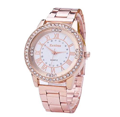 Covermason Herren Damen Quarz Armbanduhr Uhren Kristall Strass rostfrei Stehlen Analog Rose Gold