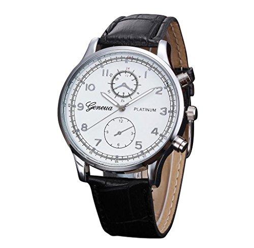 Covermason Herren Quarz Armbanduhr Uhr Leder Band Analog Legierung Retro Entwurf Armbanduhr Schwarz
