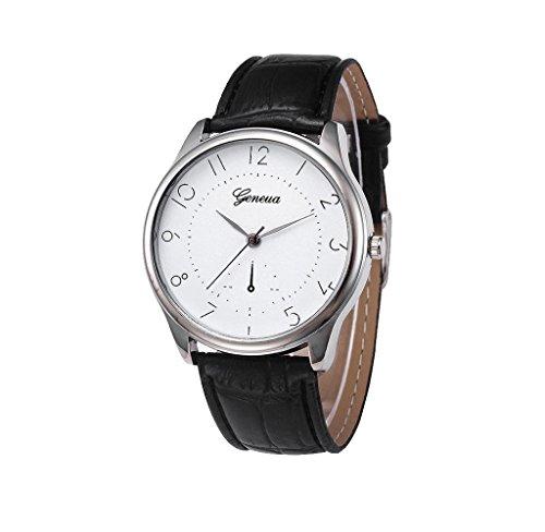 Covermason Herren Quarz Armbanduhr Uhr Leder Band Analog Legierung Schwarz