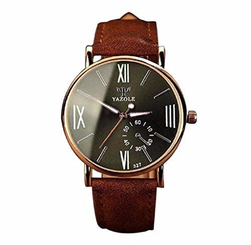 Covermason Herren Quarz Armbanduhr Uhr Leder Glas Analog noctilucent Uhren Braun Band Schwarz Waehlscheibe