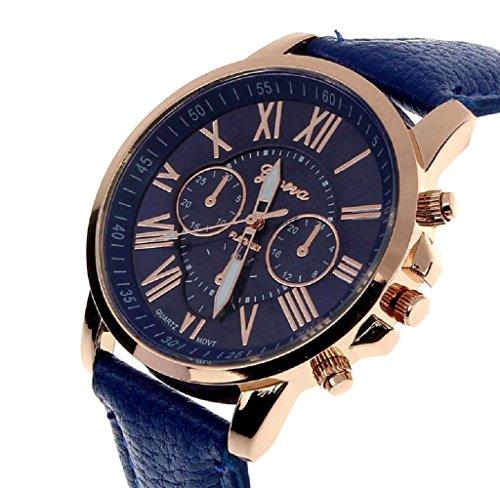 Covermason Damen Quarz Armbanduhr Uhr Faux Leder Band Roemische Zahlen Analog Dunkelblau