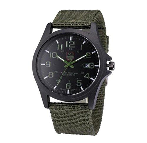Covermason Herren Uhr Datum rostfrei Stehlen Militaer Sport Analog Armee Armbanduhr Gruen