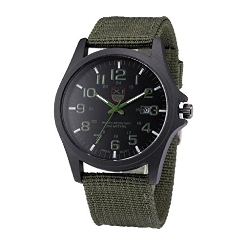 Covermason Herren Quarz Armbanduhr Uhr Datum rostfrei Stehlen Militaer Sport Analog Armee Armbanduhr Gruen