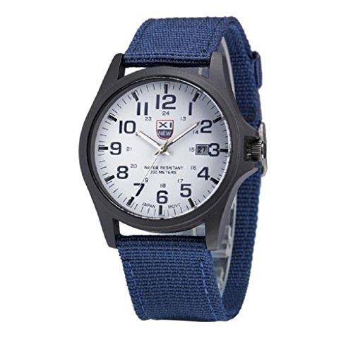 Covermason Herren Uhr Datum rostfrei Stehlen Militaer Sport Analog Armee Armbanduhr Blau