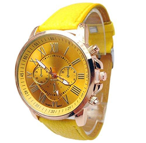 Covermason Damen Quarz Armbanduhr Uhr Stilvolle Ziffern Analog Armbanduhr Gelb