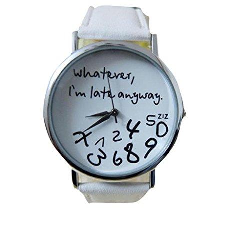 Covermason Damen Quarz Armbanduhr Uhr Leder Gurt Whatever I am Late Anyway Letter Uhr Weiss