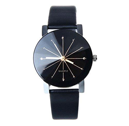 Covermason Damen Quarz Armbanduhr Uhr leather Band Runde Sache Waehlscheibe Uhren