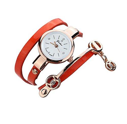 Covermason Damen Quarz Armbanduhr Uhr Metall Gurt Uhr Orange