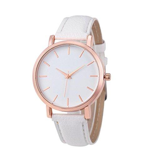 Covermason Damen Quarz Armbanduhr Uhr Leder Band rostfrei Analog Armbanduhr Weiss