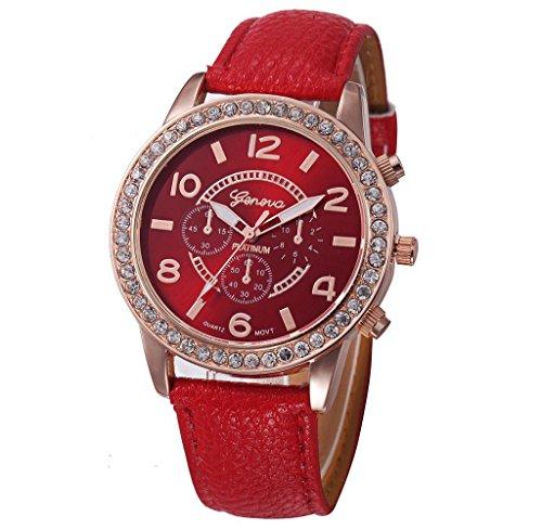Covermason Damen Maedchen Quarz Armbanduhr Analog Rot