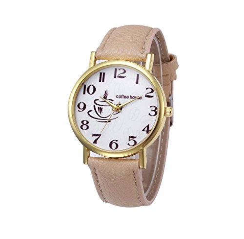 Covermason Damen Quarz Armbanduhr Uhr Leder Band Analog Beige