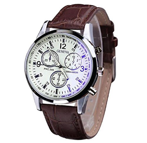 Covermason Herren Uhr Faux Leder Analog Uhren Kaffee
