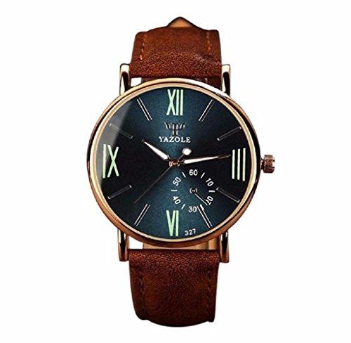Covermason Herren Quarz Armbanduhr Uhr Leder Glas Analog noctilucent Uhren Braun Band Marine dial