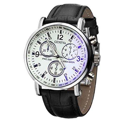 Covermason Herren Uhr Faux Leder Analog Uhren Schwarz