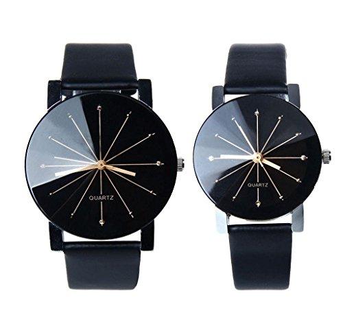 Covermason 1 Paar Herren und Damen Uhr Runde Sache leather Band Waehlscheibe Uhren