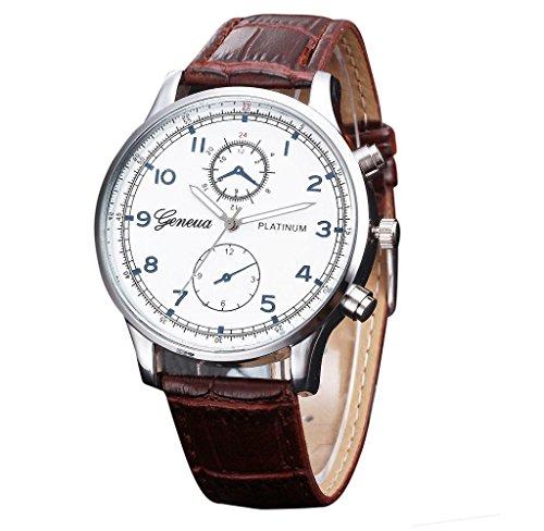 Covermason Herren Quarz Armbanduhr Uhr Leder Band Analog Legierung Armbanduhr Braun