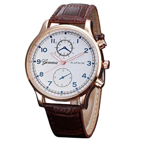 Covermason Herren Quarz Armbanduhr Uhr Leder Band Analog Legierung Retro Design Braun