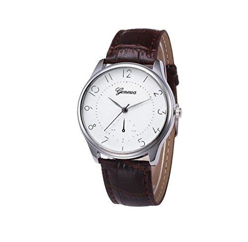 Covermason Herren Quarz Armbanduhr Uhr Leder Band Analog Legierung Braun