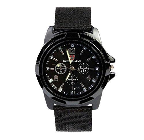 Covermason Herren Quarz Armbanduhr Uhr Stoff Band Runde Sache Armee Rennen Kraft Militaer Sport Armbanduhr