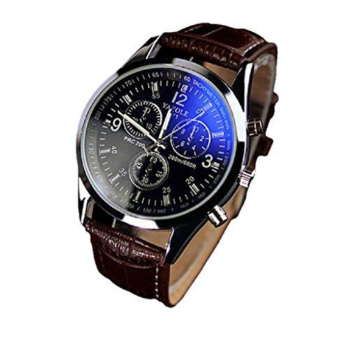 Covermason Herren Quarz Armbanduhr Uhren Faux Leder Strahl Glas Analog Braun