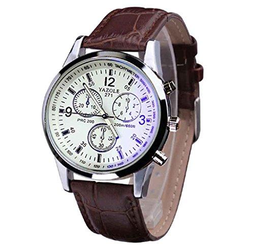 Covermason Herren Quarz Armbanduhr Uhr Faux Leder Strahl Glas Analog Uhren Braun