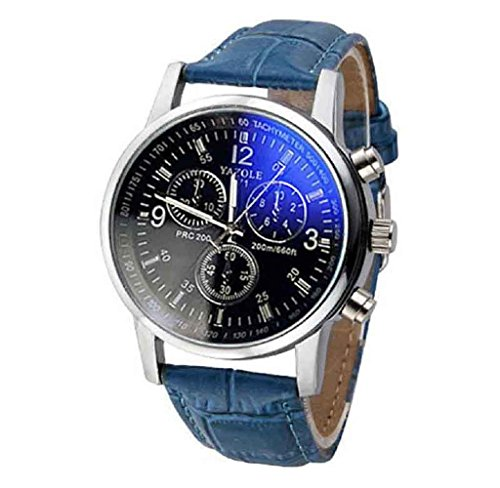 Covermason Herren Quarz Armbanduhr Uhren Faux Leder Strahl Glas Analog Blau