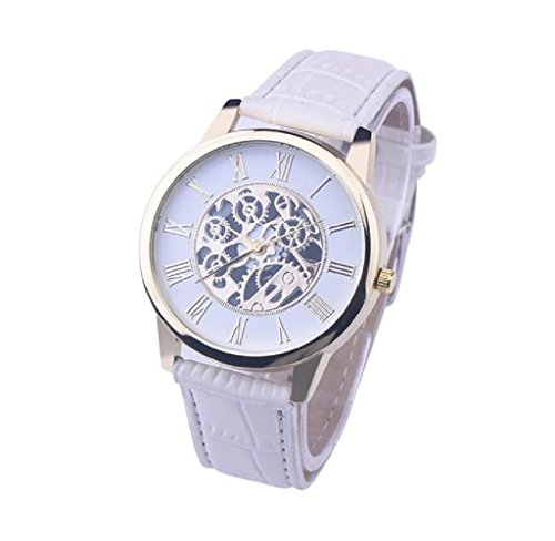 Covermason Herren Quarz Armbanduhr Uhr Weiss Leder Band Runde Sache Analog