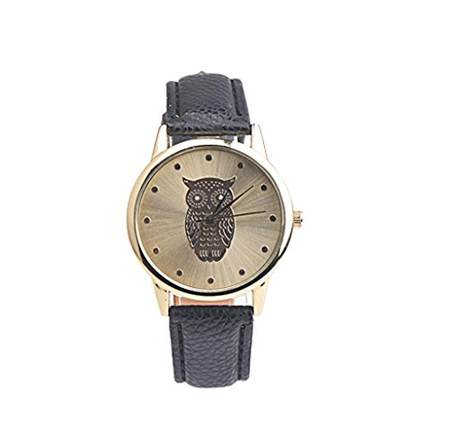 Covermason Damen Maedchen Quarz Armbanduhr Analog Retro Eulen Entwurf Schwarz