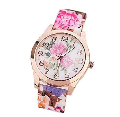Covermason Damen Uhr Silikon Gedruckt Blume Uhr Hot Pink