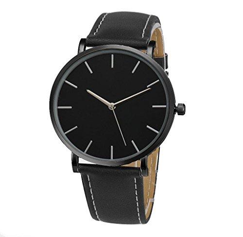Covermason Unisex Herren Damen Quarz Armbanduhr Uhr Lederband Schwarz