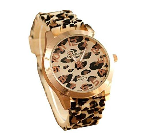 Covermason Unisex Herren Damen Quarz Armbanduhr Uhren Genf Leopard Silikon Gelee Gel Analog Gold