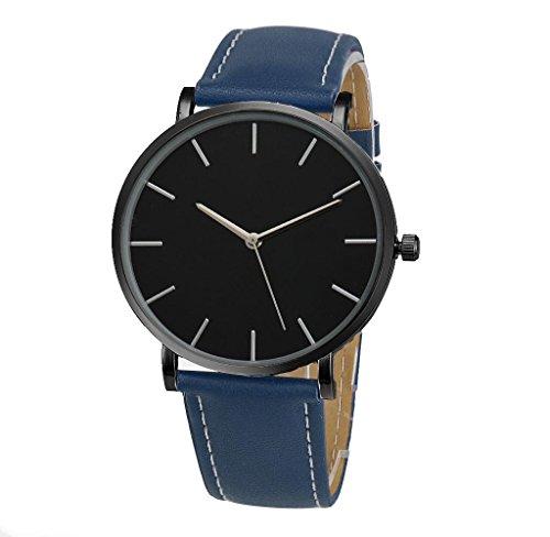 Covermason Unisex Herren Damen Quarz Armbanduhr Uhr Lederband Blau