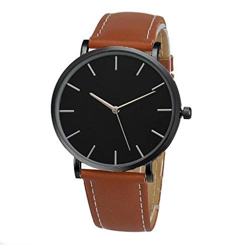 Covermason Unisex Herren Damen Quarz Armbanduhr Uhr Lederband Braun