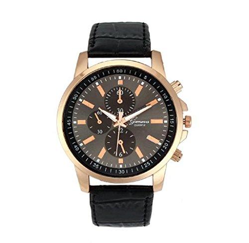 Covermason Unisex Damen Herren Quarz Armbanduhr Uhr Faux Leder Analog Uhr Schwarz