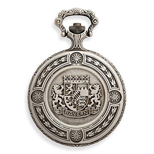Cadenis Taschenuhr mit persoenlicher Laser Gravur Bayern Wappen Mechanisch mit Sprungdeckel 48 mm im Antik Look Savonette