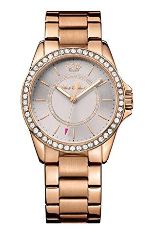 Juicy Couture Laguna Damen Quarzuhr mit schwarzem Zifferblatt Analog Anzeige und Gold Rose Gold Armband 1901410