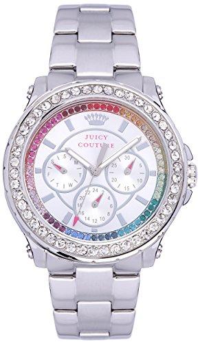 Juicy Couture Pedigree Quarz Damen Armbanduhr mit Silber Zifferblatt Analog Anzeige und Silber Edelstahl Armband 1901275
