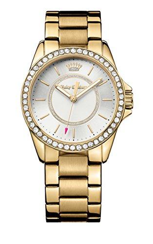 Juicy Couture Laguna Damen Quarzuhr mit Silber Zifferblatt Analog Anzeige und Gold Armband 1901409