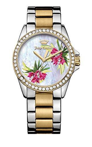 Juicy Couture Laguna Quarz Damen Armbanduhr mit Silber Zifferblatt Analog Anzeige und Silber Edelstahl Armband 1901425