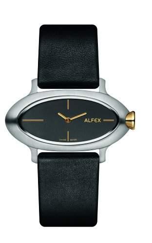 Alfex Damen-Armbanduhr Analog Leder Schwarz 5623_477