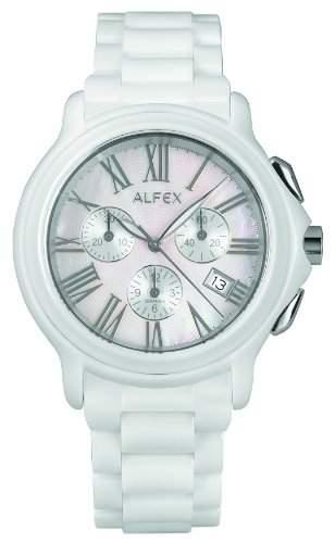 Alfex-5629_ 791-Armbanduhr-Quarz Chronograph-Ziffernblatt Perlmutt-Armband Keramik weiss