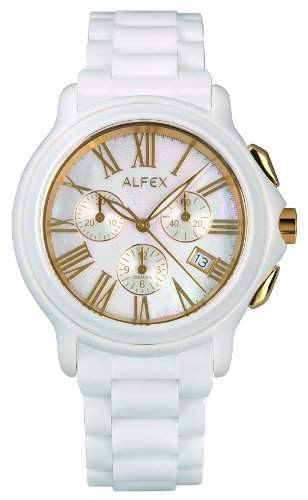 Alfex-5629_ 793-Armbanduhr-Quarz Chronograph-Ziffernblatt Perlmutt-Armband Keramik weiss
