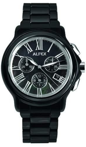Alfex-5629_ 794-Armbanduhr-Quarz Chronograph-Ziffernblatt Perlmutt-Armband Stahl schwarz