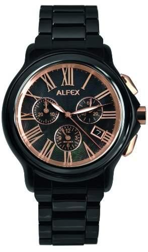 Alfex-5629_ 795-Armbanduhr-Quarz Chronograph-Ziffernblatt Perlmutt-Armband Stahl schwarz